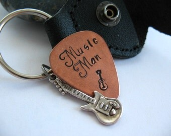 Stamped Guitar Pick Keychain, Personalized,  Father's Day, Black Leather Case, Copper Guitar Pick, Music Lover, Young Man Gift
