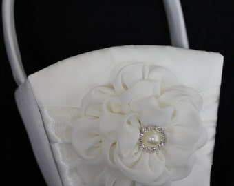 White or Cream Satin Flower Girl Basket with a CUSTOM COLOR Chiffon Flower with Pearl  and Rhinestone Center