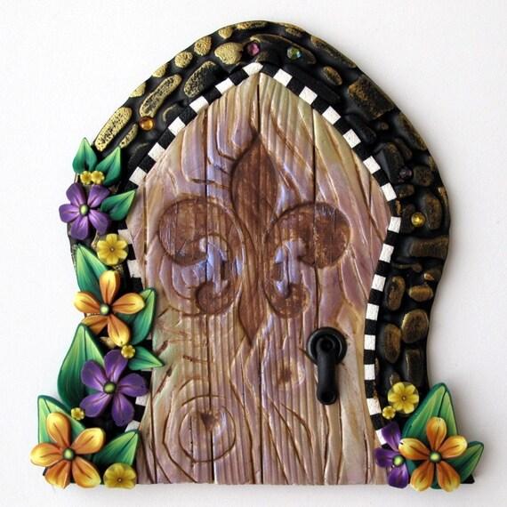 Mardi gras fairy door wall art home decor for Fairy door wall art