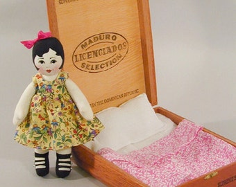 Tiny Doll Pattern - Cigar Box Doll - 8 in cloth doll PDF - sewing pattern - handmade doll download