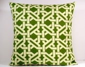 Garden Fence decorative throw pillow cover 18 x18 inches Accent cushion sham slipcover in olive green and cream.