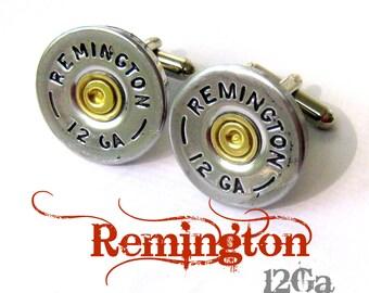 remington 12 ga shotgun shell jewelry cufflinks cuff links wedding groomsmen cowboy