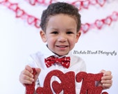 Boys Red Valentine's Bow Tie - red and white heart arrow bow tie for boy, bowtie for baby infant toddler child preteen, first birthday ties