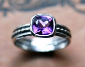 Purple amethyst ring - cushion solitaire - oxidized - February birthstone - recycled sterling silver - ready to ship sz 7- Crush ring