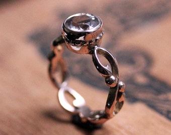 Rose gold morganite ring - rose gold engagement ring - infinity filigree ring - pink gold ring - bezel ring - made to order - Wrought ring