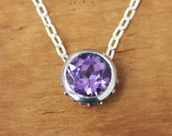 Alexandrite necklace, June birthstone necklace, birthstone bezel necklace, solitaire necklace, imitation alexandrite, ready to ship, wrought
