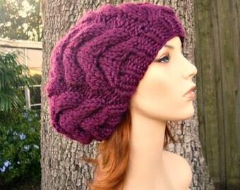 Knit Hat Womens Hat - Horseshoe Cable Beret Hat in Red Violet Purple Knit Hat - Purple Hat Purple Beanie Purple Beret Womens Accessories