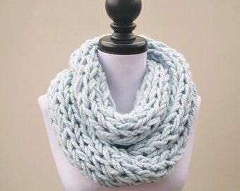 Glacier Pale Blue Chunky Scarf Circle Scarf Infinity Scarf Knit Cowl - Polar Infinity Cowl - Blue Cowl Blue Scarf Womens Accessories