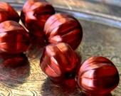 Mercurial (6) -Czech Glass Melons 14mm