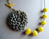 Statement Necklace Flower Necklace Grey Necklace Yellow Necklace Wedding Jewelry Set Bridesmaid Jewelry Bridesmaid Gift Bib Necklace