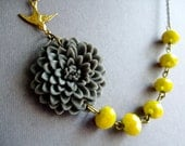 Grey Flower Necklace,Floral Necklace,Yellow Necklace,Grey Necklace,Bridesmaid Necklace,Bib Necklace,Wedding Jewelry Set,Bridesmaid Gift,Gift