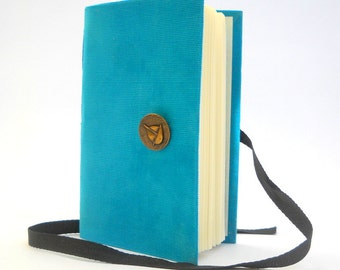 Writing handmade Journal notbook diary with lined paper, Blue Travel journal, Brass boat button, Personal journal diary, gifts for men