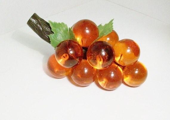 Mid Century Lucite Grape Cluster, Orange Amber
