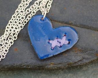Valentine Jewelry Mended Broken Enamel Heart Pendant Necklace Copper Enameled Navy Blue