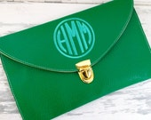 monogrammed envelope clutch in KELLY GREEN - monkeyseeboutique