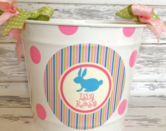 custom personalized 10 QUART name bucket in pastel stripes