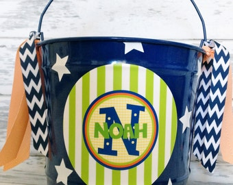 custom personalized 10 quart bucket in blue, orange and green