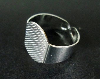 Strong 15mm ring base, silver plated, pick your amount, A76