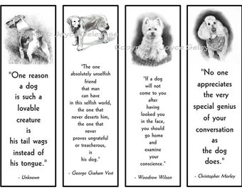 Printable Bookmarks, Dogs in Pencil With Quotes About Dogs, Black and White, Westie, Terrier, Retriever, Poodle, Dog Lovers