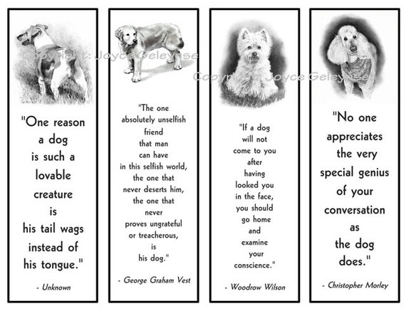 printable bookmarks dogs in pencil with quotes about dogs