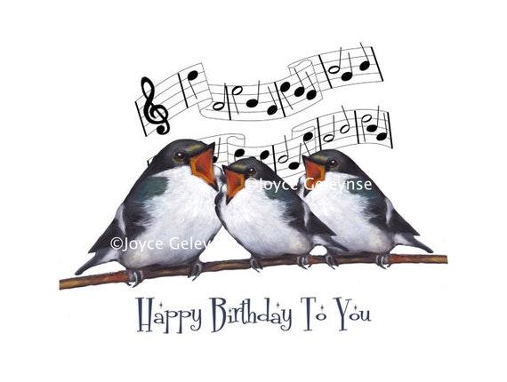 printable birthday greeting  three birds singing original
