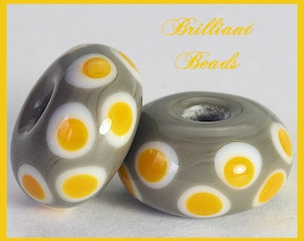 Saffron Yellow & Grey Spacer Bead Pair...Handmade Lampwork Beads SRA, Made To Order
