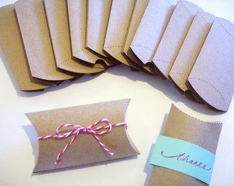 Pillow Box, Boxes, Set of 12, Wedding Favor, Box, Printed Pillow Box