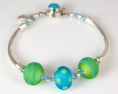 Wild and Whacky Summer Artisan Lampwork Bracelet