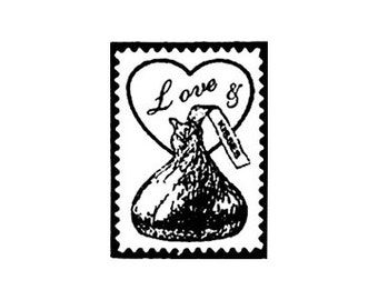 Small Love and Chocolate Kisses Faux Postage Stamp Mini Rubber Stamp great for Vaentines day