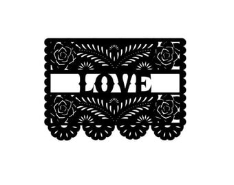 Papel Picado Love with roses Rubber Stamp