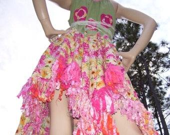 Daisy Pixie Sundress Hippie Patchwork Festival Fringe Dress Cotton Orange Pink Sage Floral Garden Party Fairy Hem S M L Adult Sundress