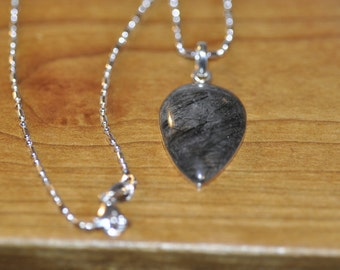 Vintage Rutilated Quartz Pendant on Sterling Silver bead and ball chain