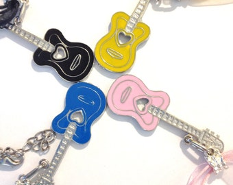Guitar Necklace  Organza Ribbon Necklaces   gift of music under 20