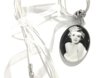 Marilyn Monroe  Black White Photo Necklace Movie Star Actress Norma Jean Hollywood Icon  Movie Idol