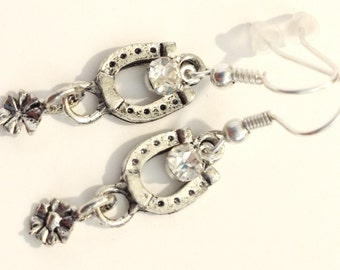 Little Horse Shoe Earrings with a Rowel and Rhinestone Touch of Sparkle