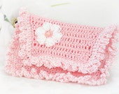 Business or Credit Card Wallet for Women, Crochet Pink & White with White Puff Flower
