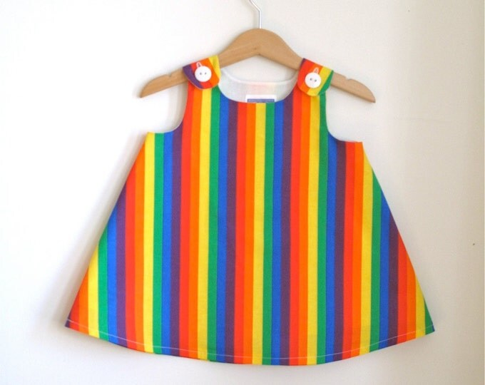 Rainbow Stripes Baby Dress, Toddler Dress, Girls Dress, First Birthday Dress, Size 12 - 18 Months