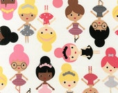 Ann Kelle, Girl Friends, Ballerina Friends Slipper Fabric - REMNANT Size 16 Inches by 44 Inches