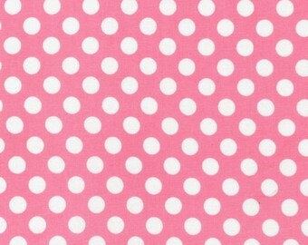 Robert Kaufman Spot On, Dots Pink Fabric - Half Yard
