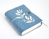 Sky Blue Vine Vegan Faux Leather Journal Blue suede journal Pleather notebook diary - OxtonBooks