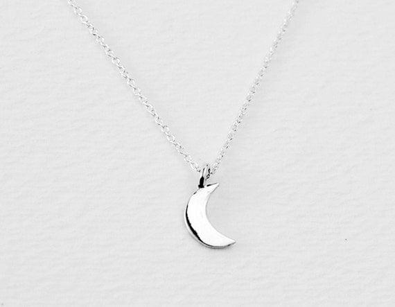 Crescent moon necklace - moon necklace - petite necklace - dainty necklace - delicate necklace - everyday necklace - Crescent