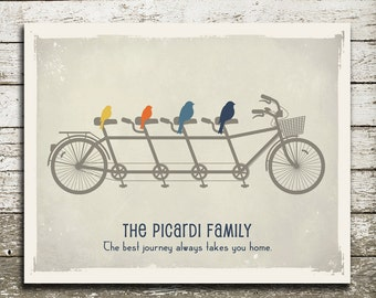 Personalized Family Wall Art Gift Print - Birds on a Bicycle Custom Family Sign - Bike Art Print - As Seen In Pregnancy and Newborn Magazine