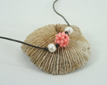 Coral snowball necklace