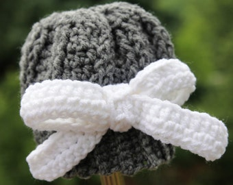 INSTANT Download Crochet Pattern for a Crochet Baby Hat Romantic Bow Hat for Baby Infant  Photo Prop PDF