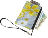 Pixy Roo Small Wristlet - coin purse - credit card purse - Zippered Pouch - Oopsie Daisy Fabric