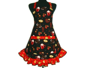 Retro Bakery Apron for women , Chocolate Chip Cookies / Hot Cocoa / Strawberries and Pretzels , Retro Style Ruffle and pocket , Flirty