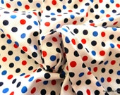 One Yard Cut Quilt Fabric, Patriotic Red, Royal Blue and Navy Blue Polka Dots on a White Background, Quilting & Sewing Supplies