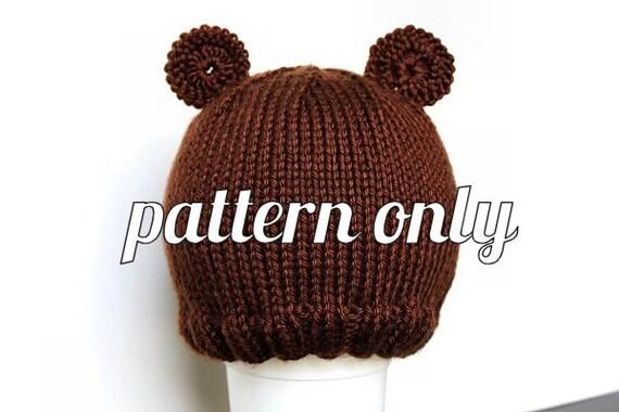 Knitting Pattern For Teddy Bear Hat : Knit Pattern: Ribbed Brim Teddy Bear Hat Baby by NevadaKnits
