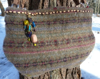 Wool Felted Handbag Recycled Fair Isle Free Shipping U.S. only