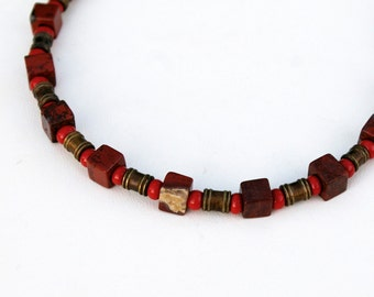 Red Jasper Necklace- Square Beads